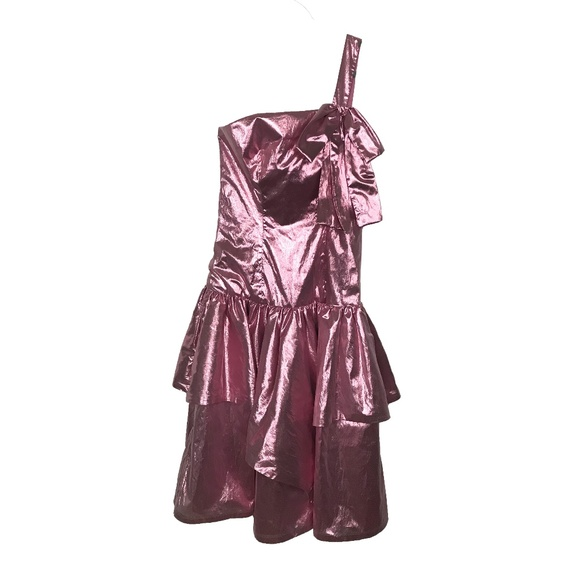 Shiny Metallic Pink 80s Prom Dress One Shoulder | Poshmark